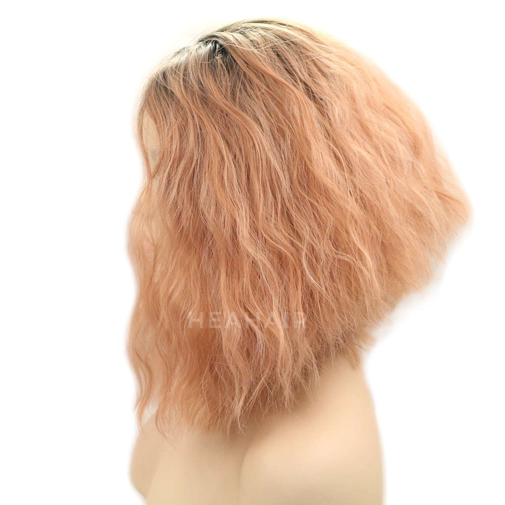 Peach Pink Bob Synthetic Lace Front Wig HS0025