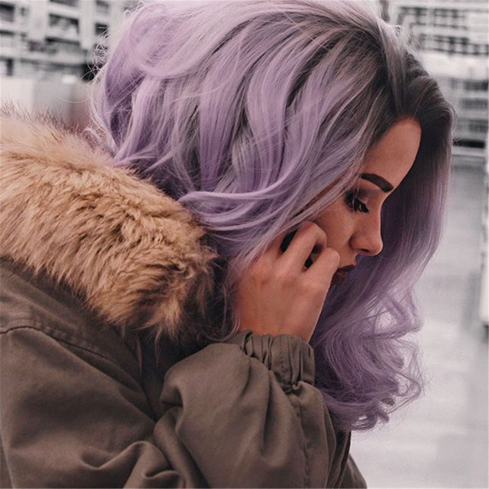 Ombre Purple Bob Synthetic Lace Front Wig HS0026