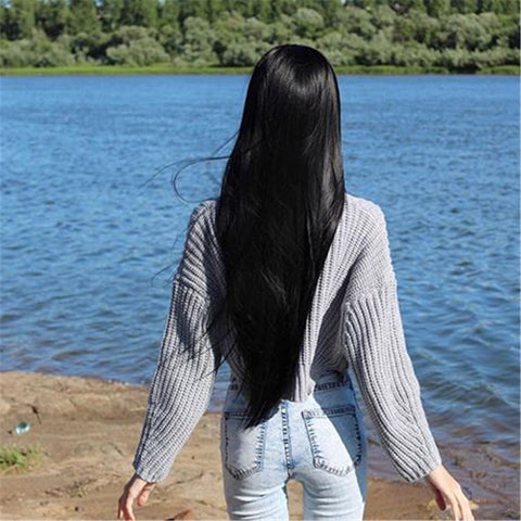 Black Synthetic Lace Front Wig with Baby Hair HS0039