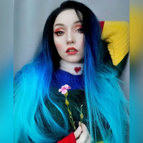 Ombre Blue Synthetic Lace Front Wig HS01017