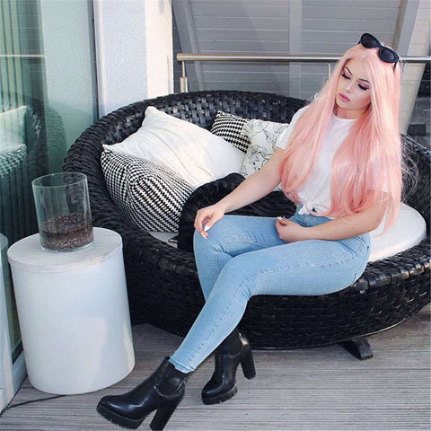 Pink Synthetic Lace Front Wig HS2004