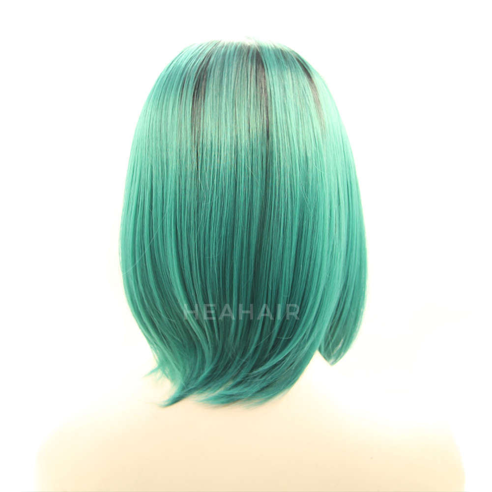 Ombre Green Bob Synthetic Lace Front Wig HS2005