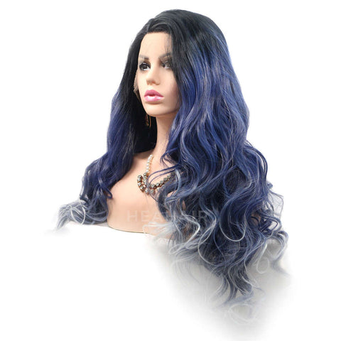Ombre Blue Synthetic Lace Front Wig HS2007