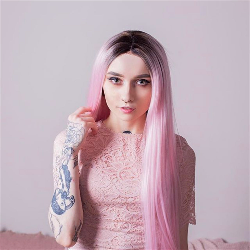 Ombre Pink Synthetic Lace Front Wig HS2008