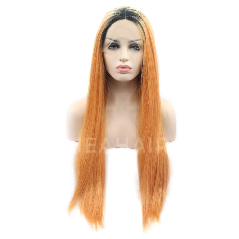 HEAHAIR Ombre Orange Brown Straight Synthetic Lace Front Wigs HS2014