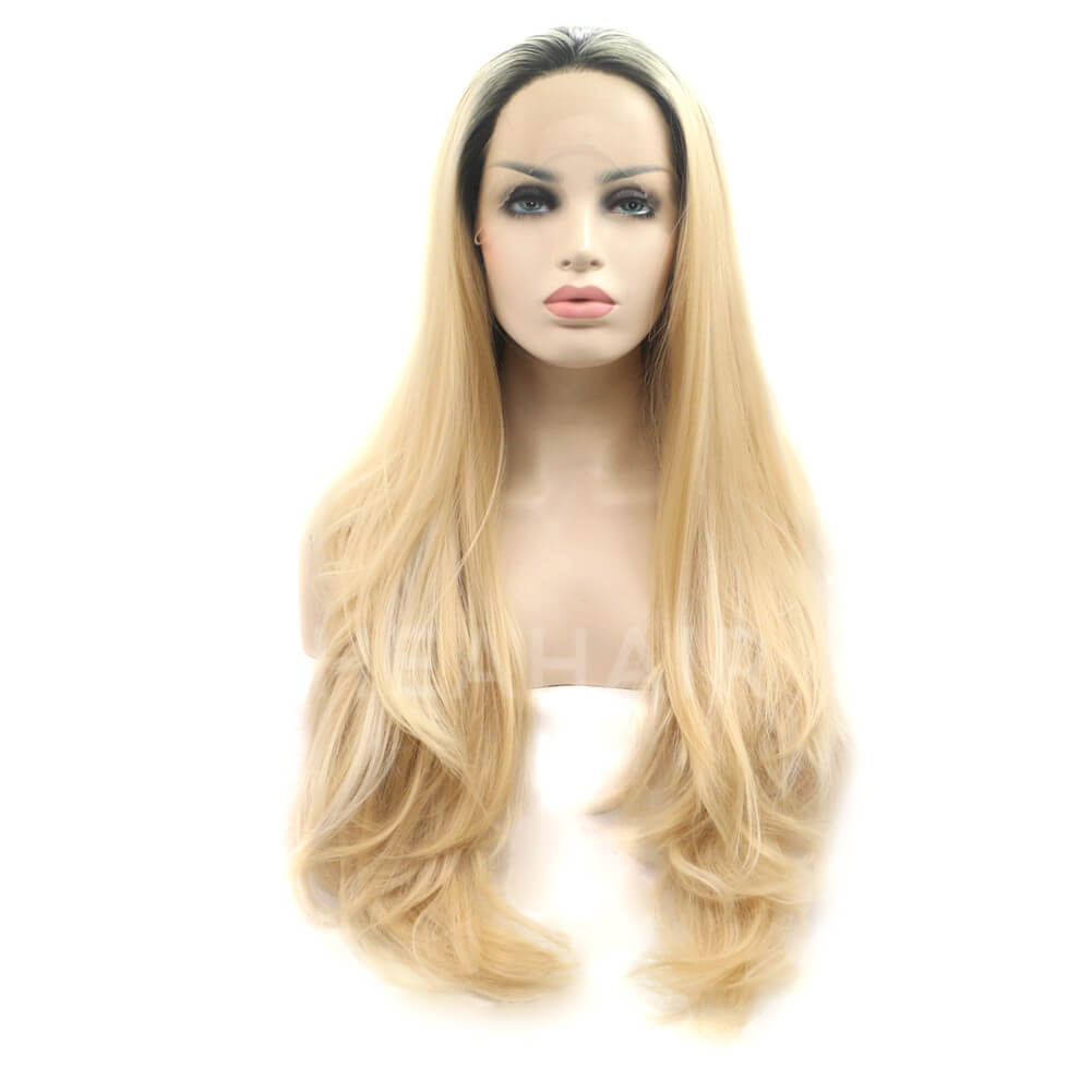 Ombre Gold Blonde Wavy Synthetic Lace Front Wigs HS2020