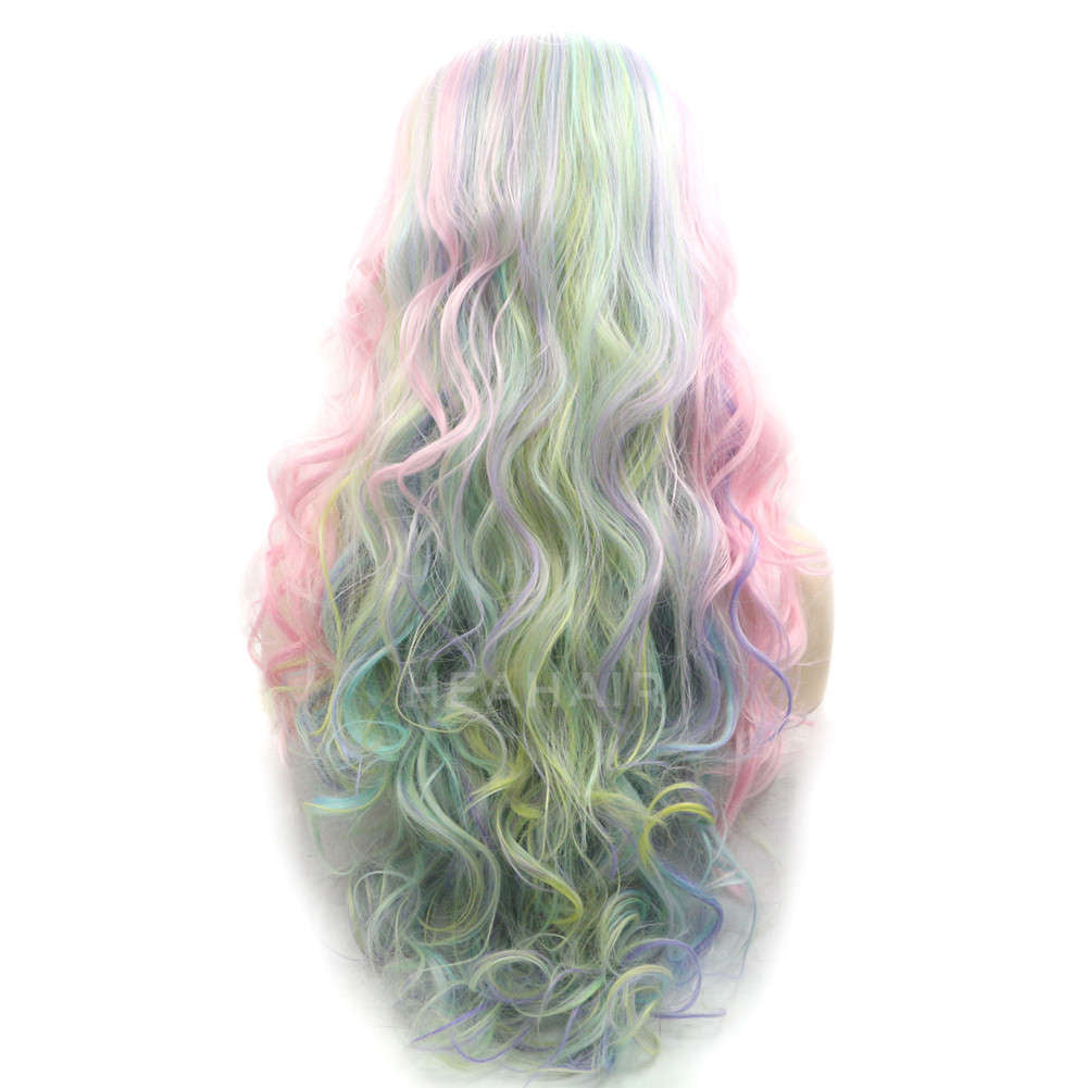 Rainbow Color Synthetic Lace Front Wig HS2021