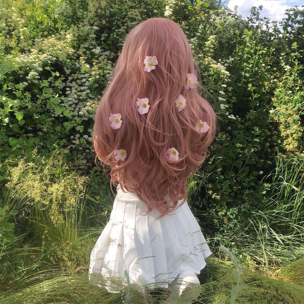 Peach Pink Synthetic Lace Front Wig HS2023