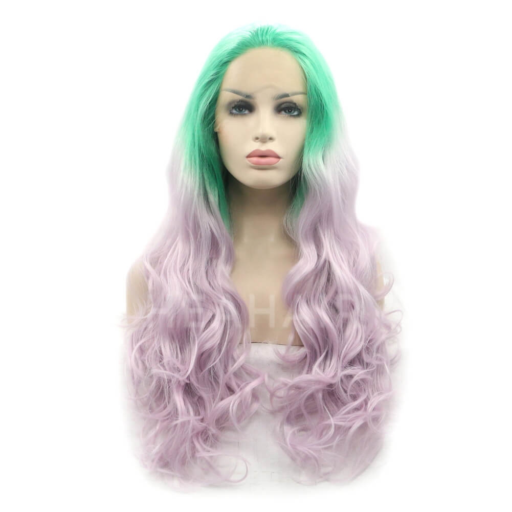 HEAHAIR Ombre Green To Light Pink Synthetic Lace Front Wig HS2024