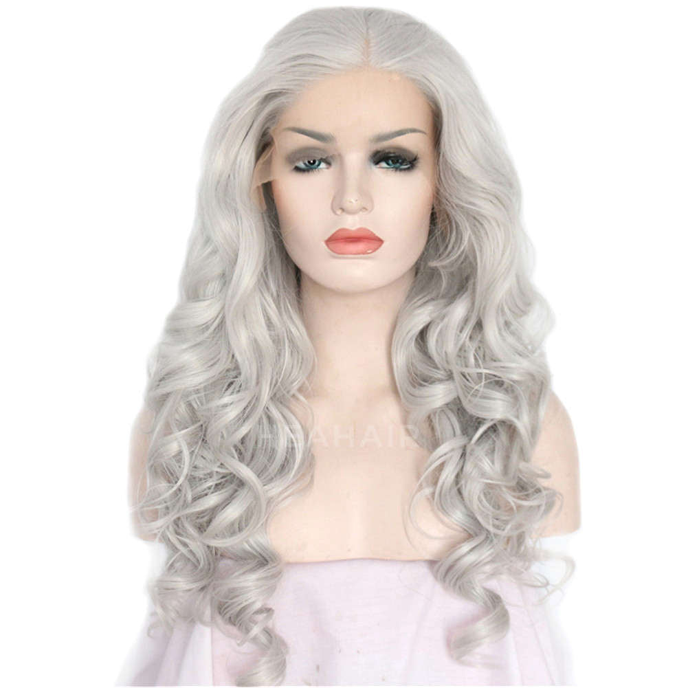 Silver Synthetic Lace Front Wig HS3002