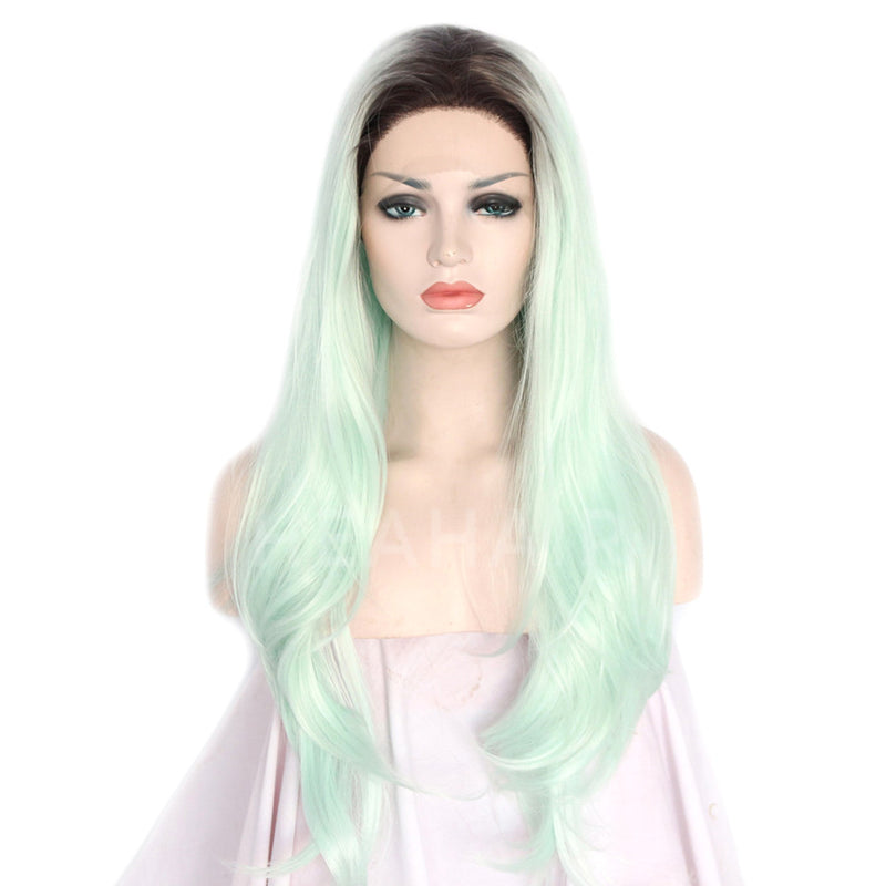 Ombre Light Green Long Synthetic Lace Front Wigs HS3017