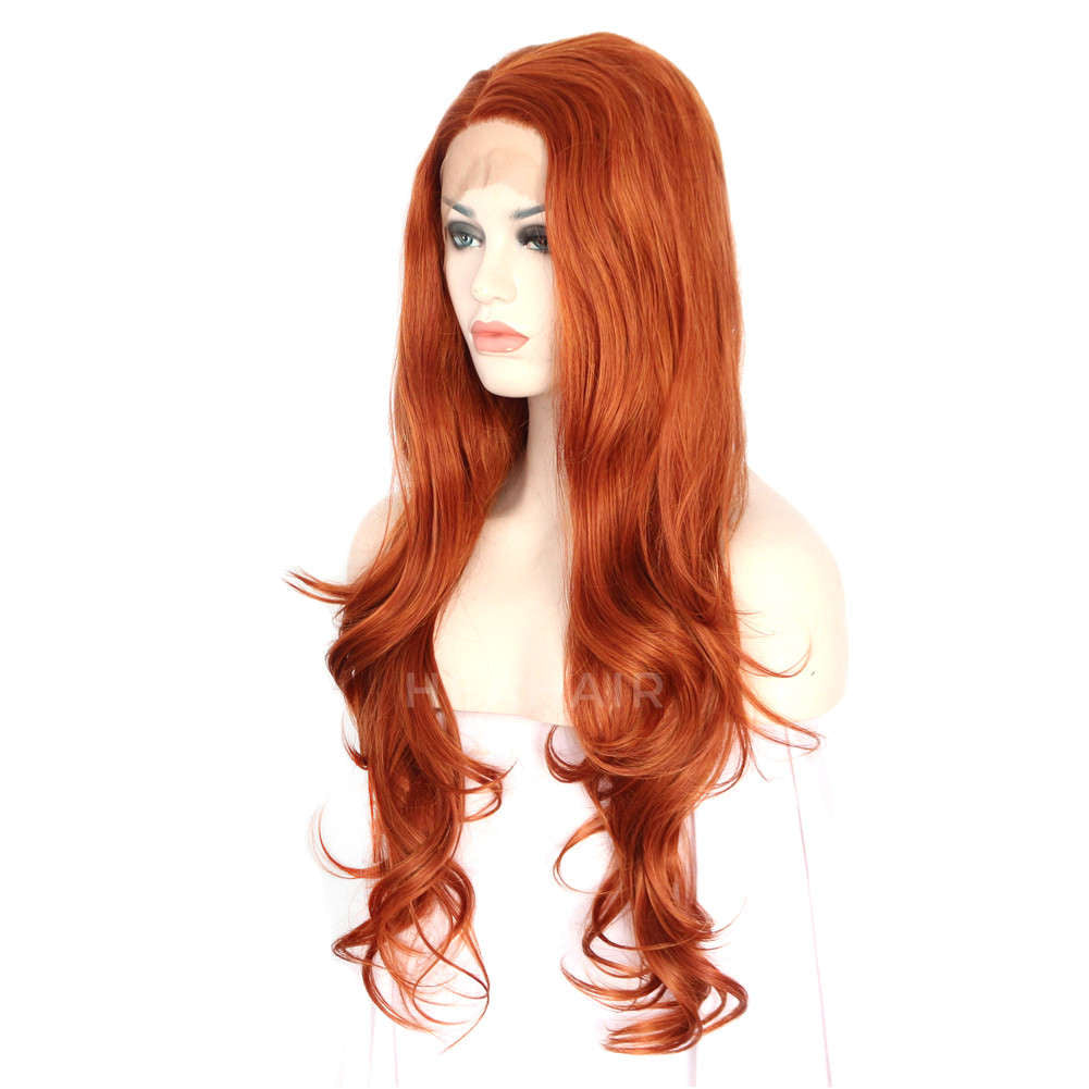 Orange Brown Synthetic Lace Front Wig HS3032