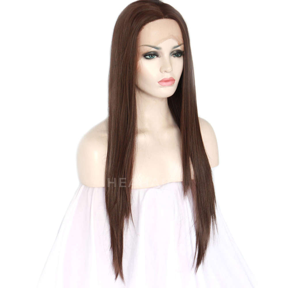 Dark Brown Synthetic Lace Front Wig HS3036
