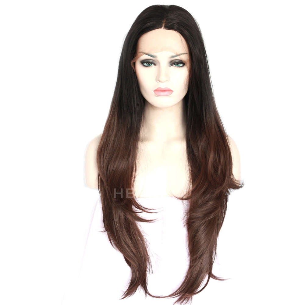 Ombre Brown Synthetic Lace Front Wig HS3037