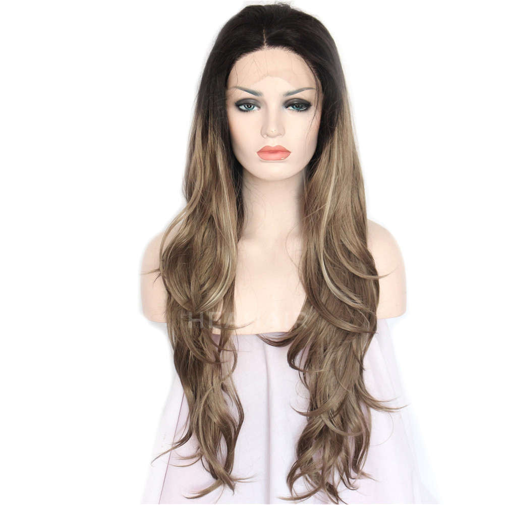 Ombre Brown Synthetic Lace Front Wig HS3040
