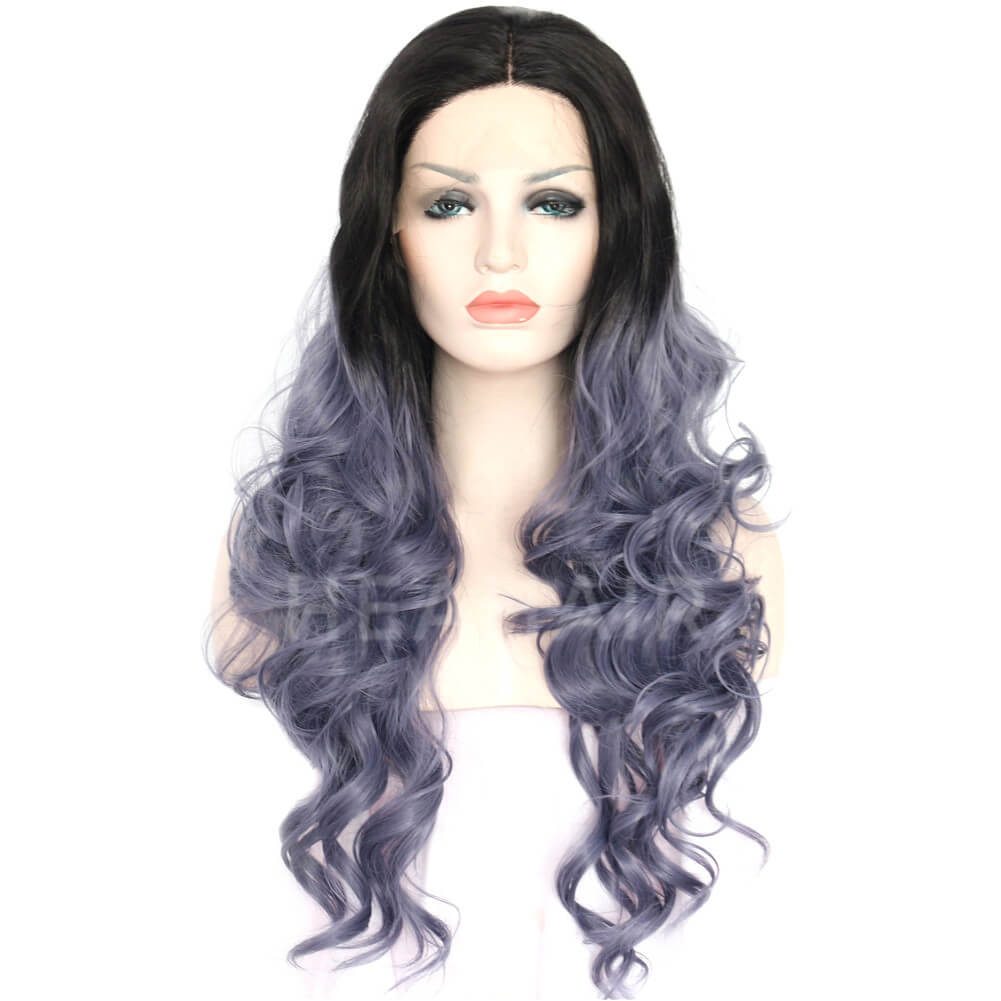 Dark Root Ombre Blue Wave Synthetic Lace Front Wigs HS3042