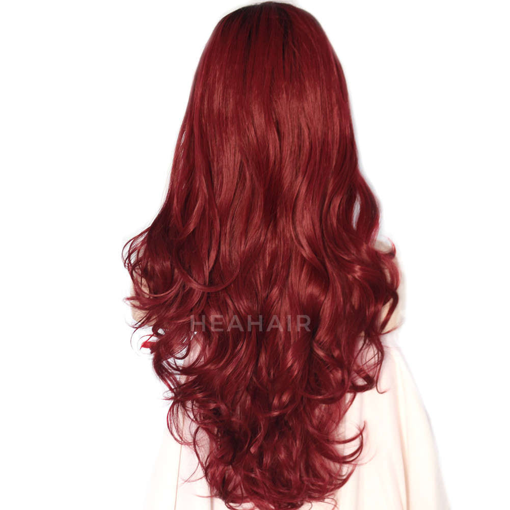 Ombre Wine Red Synthetic Lace Front Wig HS4001