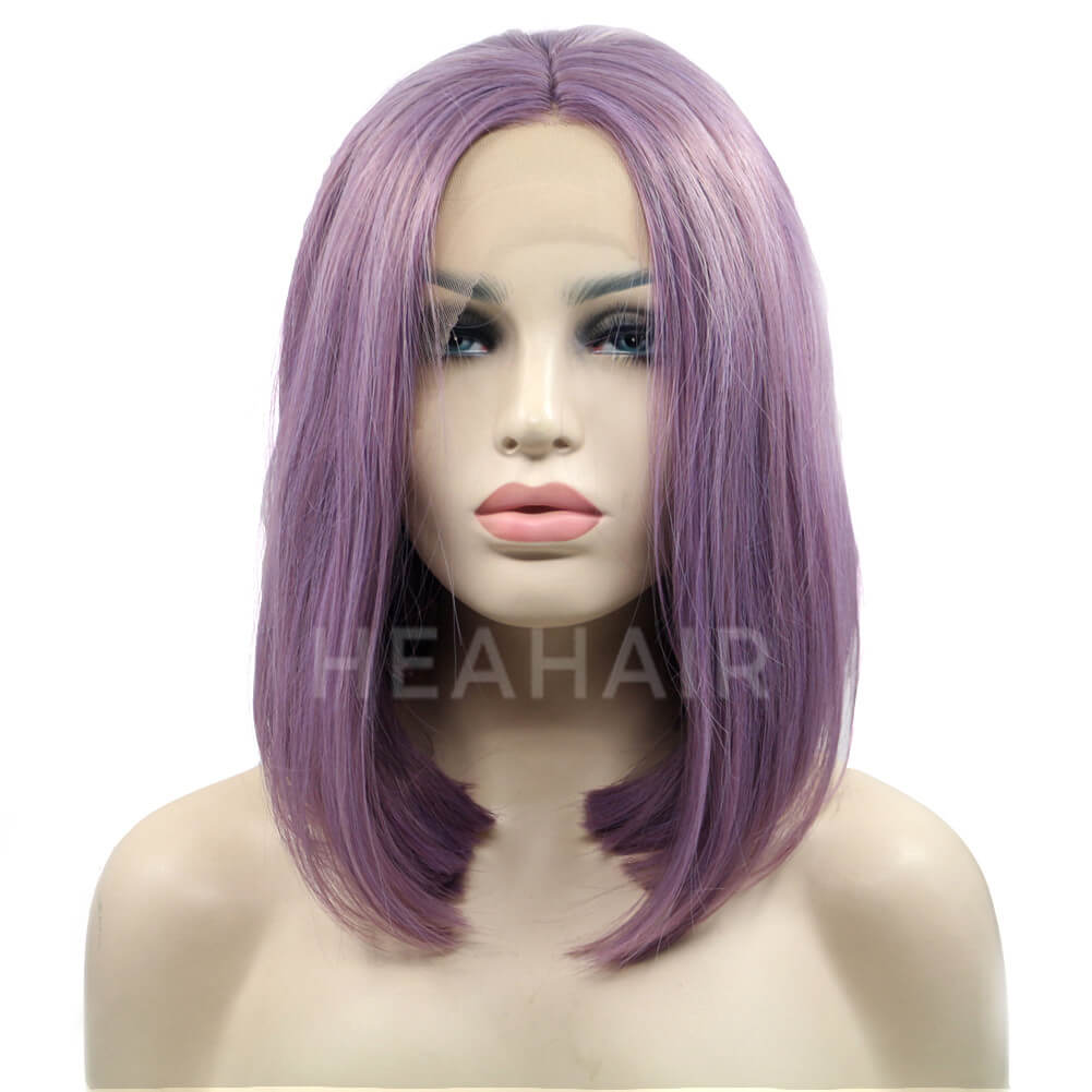 HEAHAIR Purple Short Bob Synthetic Lace Front Wigs HS4006