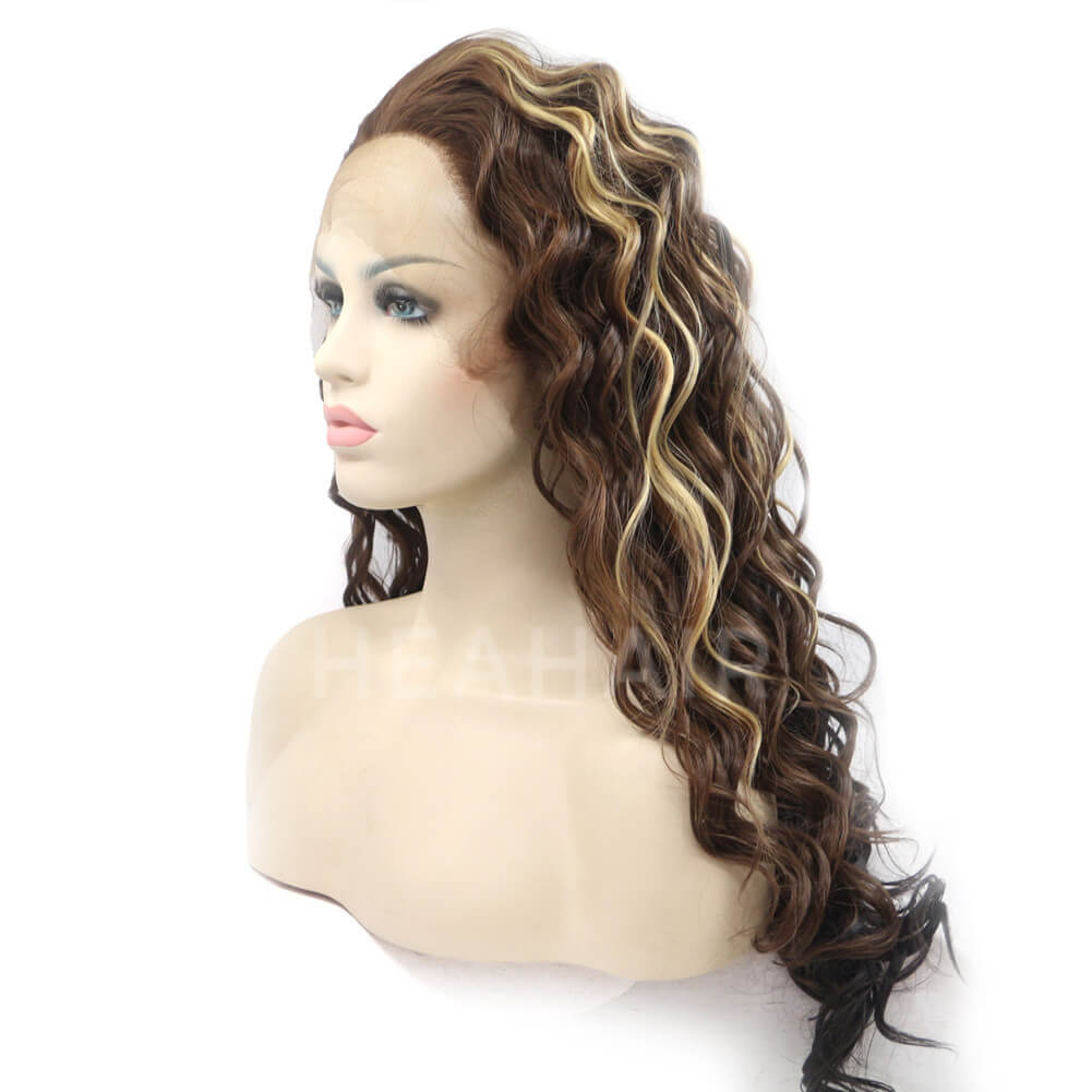 Dark Brown Synthetic Lace Front Wig HS4012