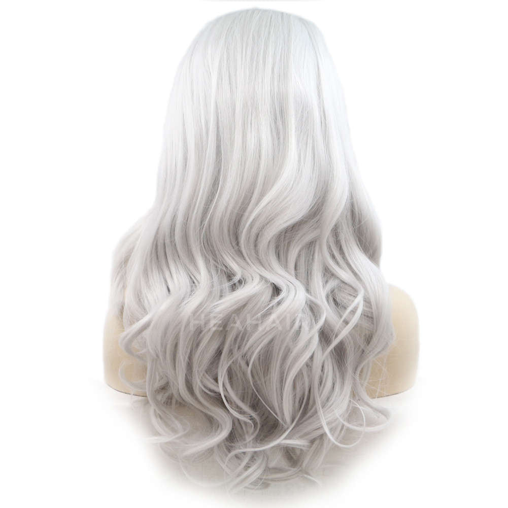 Silver Synthetic Lace Front Wig HS4013