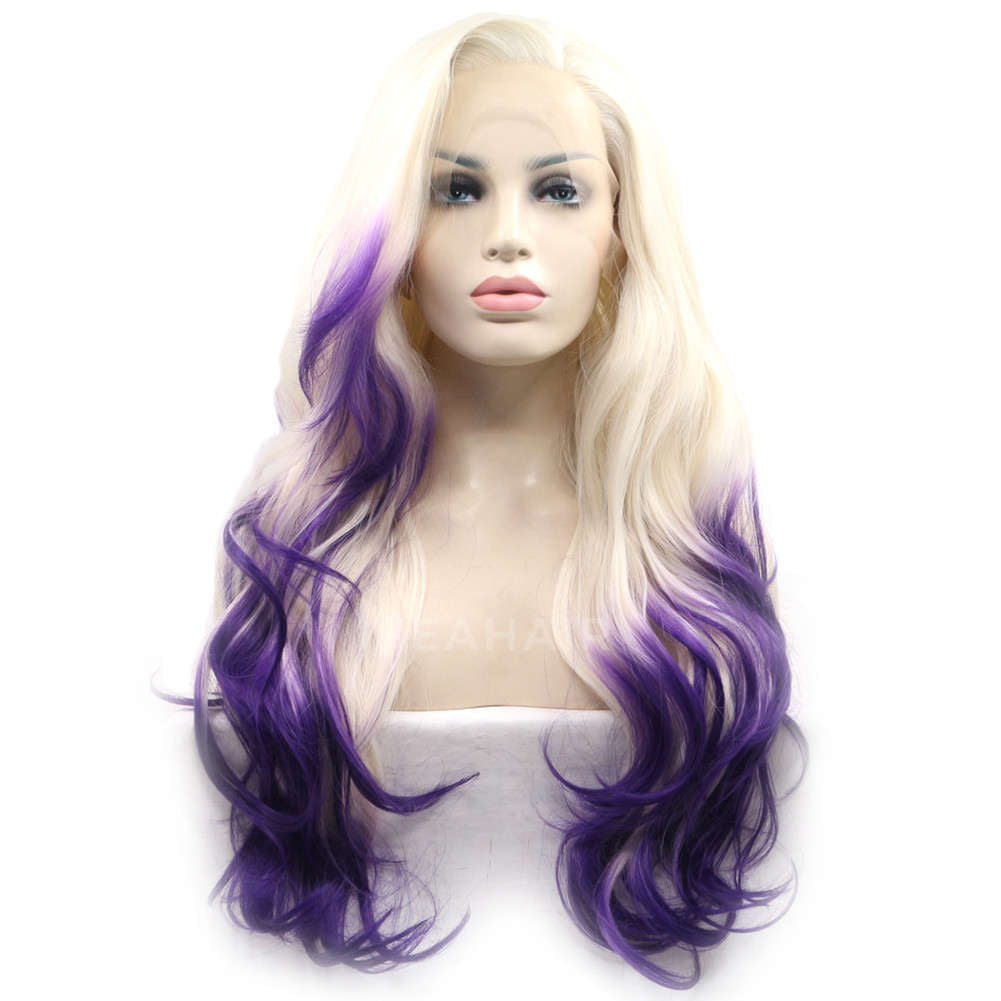 Ombre Purple Synthetic Lace Front Wig HS4016