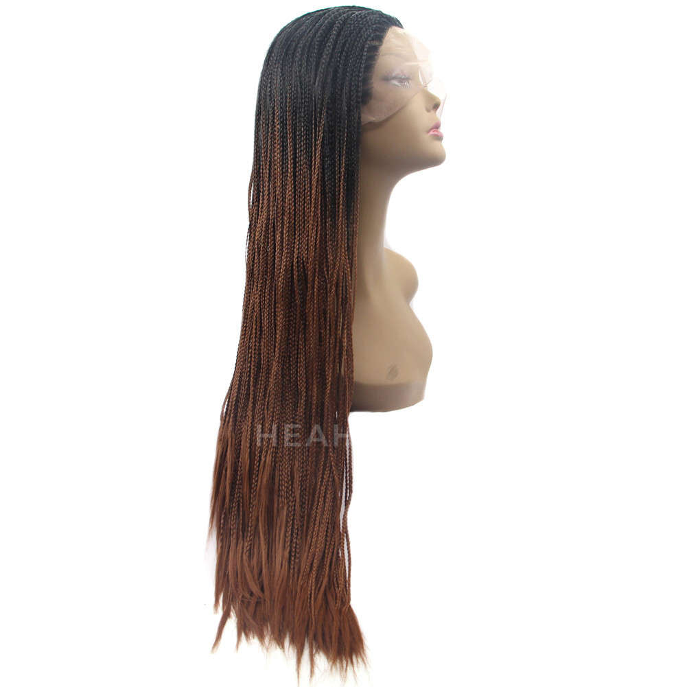 Ombre Dark Brown Synthetic Braided Lace Front Wig HS5005