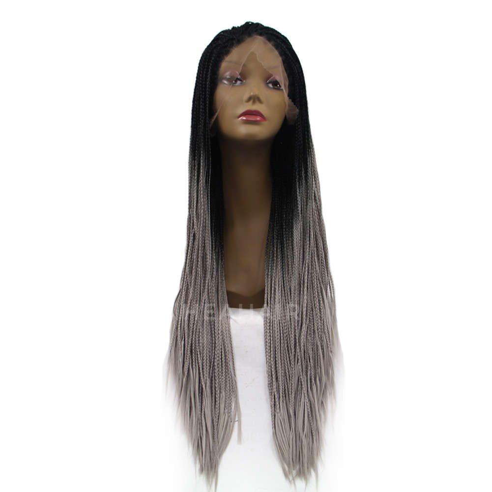 Ombre Gray Synthetic Braided Lace Front Wig HS5007