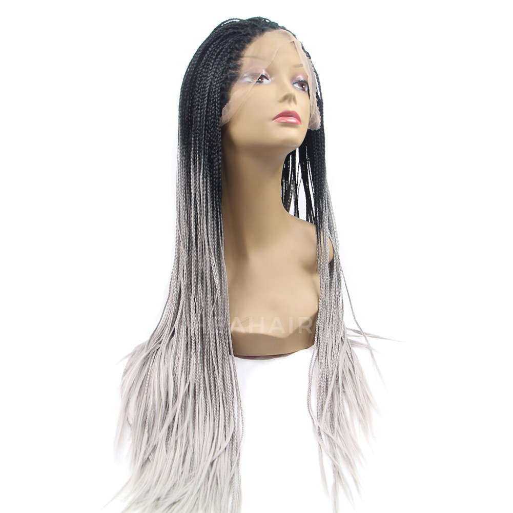 Ombre Light Gray Synthetic Braided Lace Front Wig HS5008