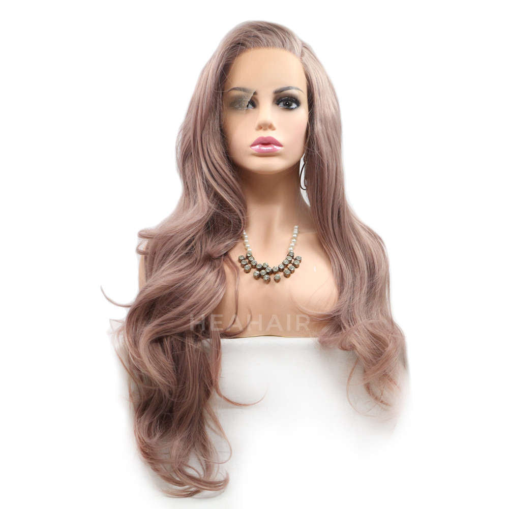 Ash Pink Synthetic Lace Front Wig HS6002
