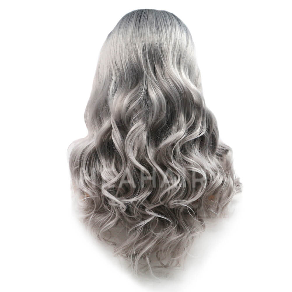 Ombre Gray Synthetic Lace Front Wig HS6003