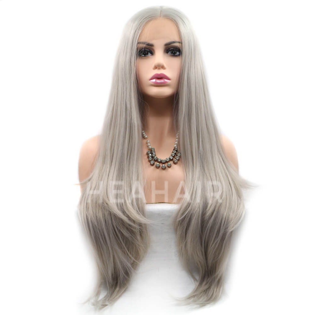 HEAHAIR Gray Natural Straight Synthetic Lace Front Wigs HS6004