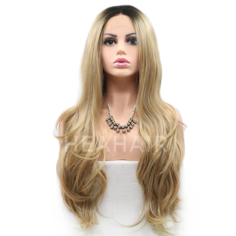 Ombre Blonde Natural Straight Synthetic Lace Front Wigs HS6005