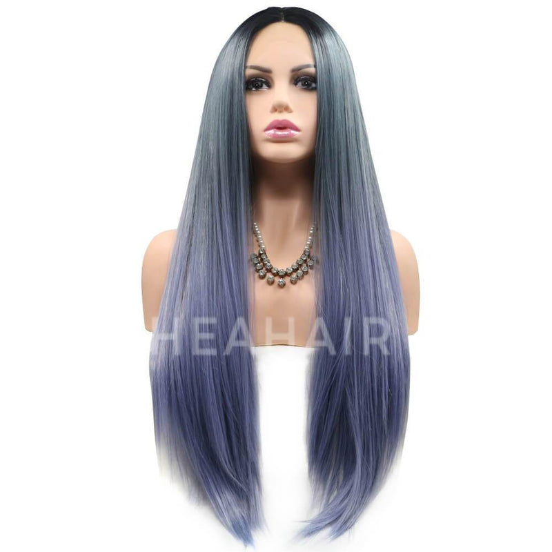 HEAHAIR Ombre Blue Straight Synthetic Lace Front Wigs HS6009
