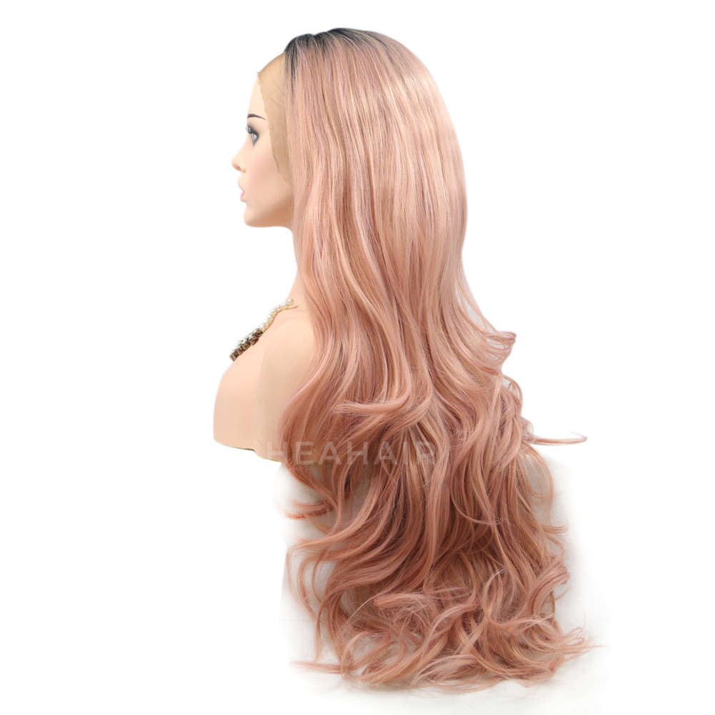 Ombre Peach Pink Synthetic Lace Front Wig HS6011