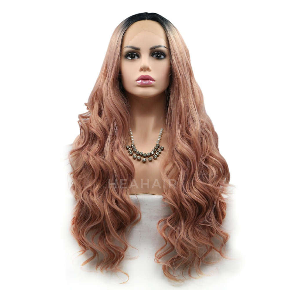Ombre Peach Pink Synthetic Lace Front Wig HS6012