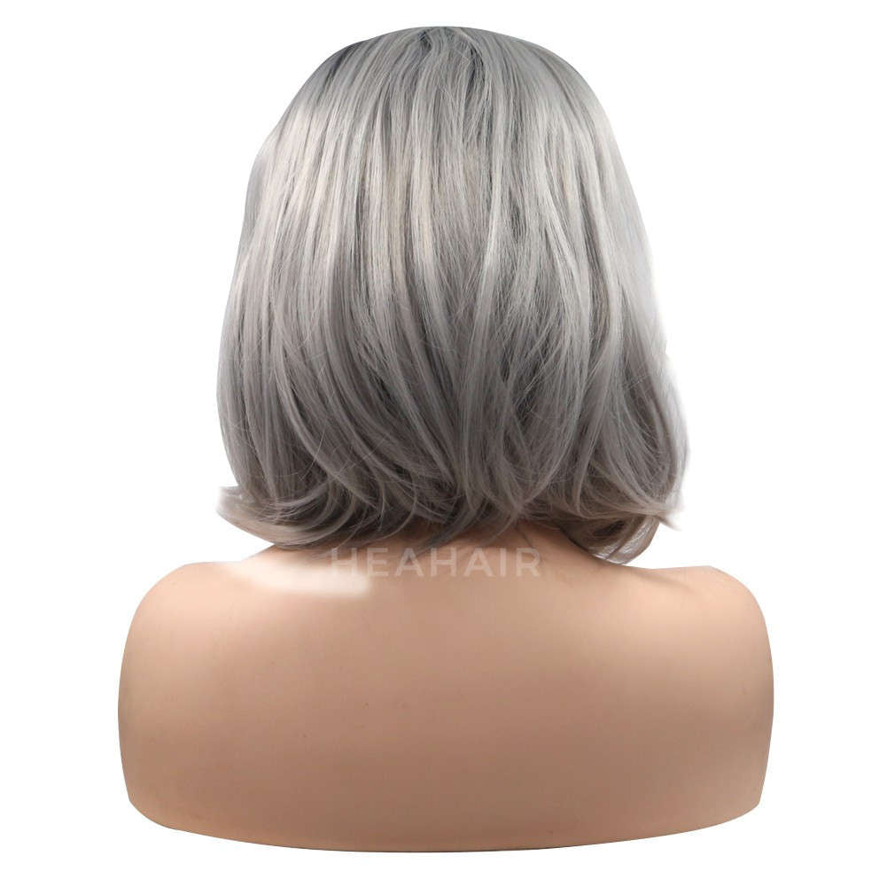 Ombre Grey Bob Synthetic Lace Front Wig HS6018