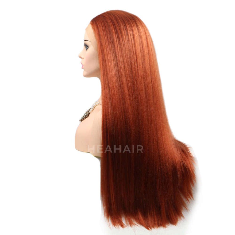 Reddish Brown Yaki Synthetic Lace Front Wig HS6019