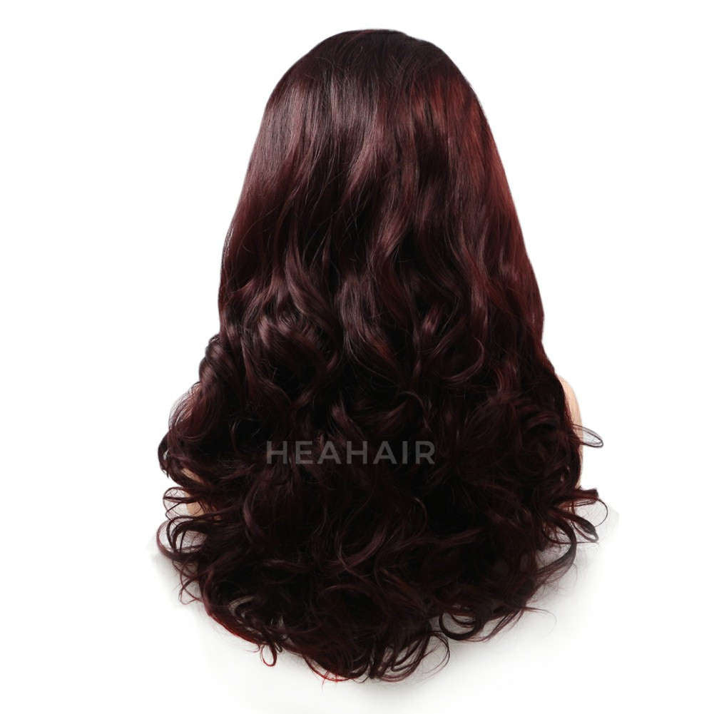 Dark Reddish Brown Synthetic Lace Front Wig HS6021