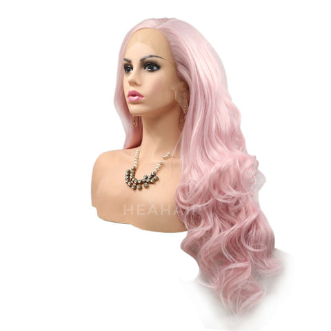 Light Pink Synthetic Lace Front Wig HS6023
