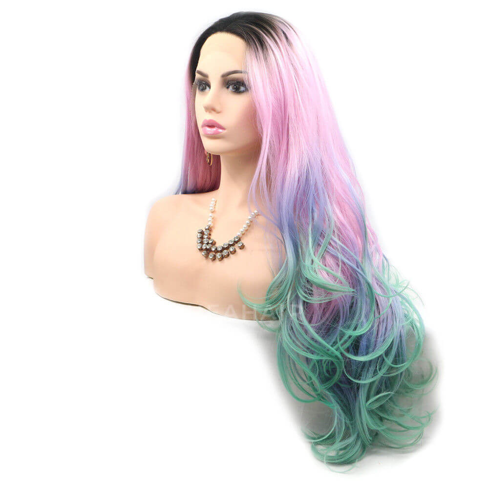 Rainbow Color Synthetic Lace Front Wig HS6025