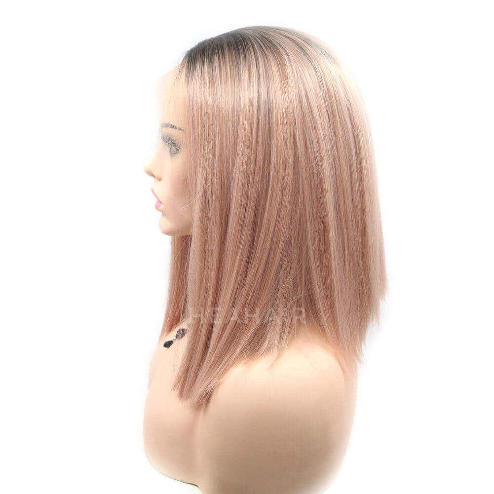 Ombre Peach Pink Bob Synthetic Lace Front Wig HS6026