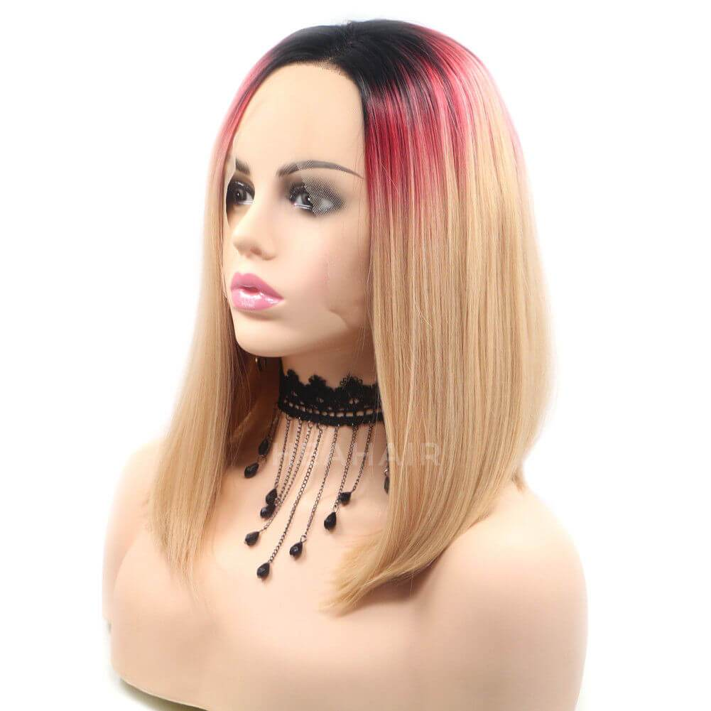 Ombre Blonde Bob Synthetic Lace Front Wig HS6028
