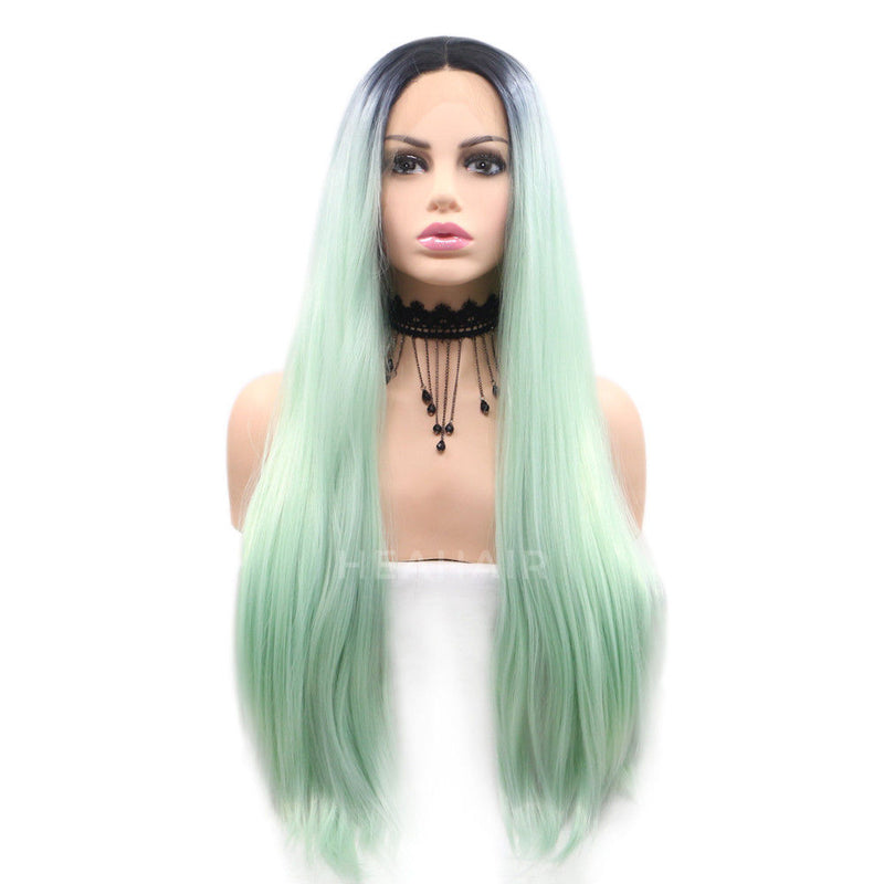 Ombre Light Green Synthetic Lace Front Wig HS6032