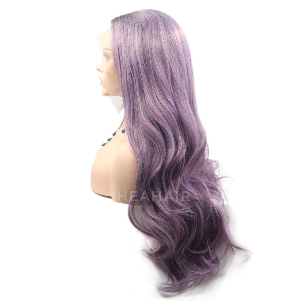 Ombre Purple Synthetic Lace Front Wig HS6035