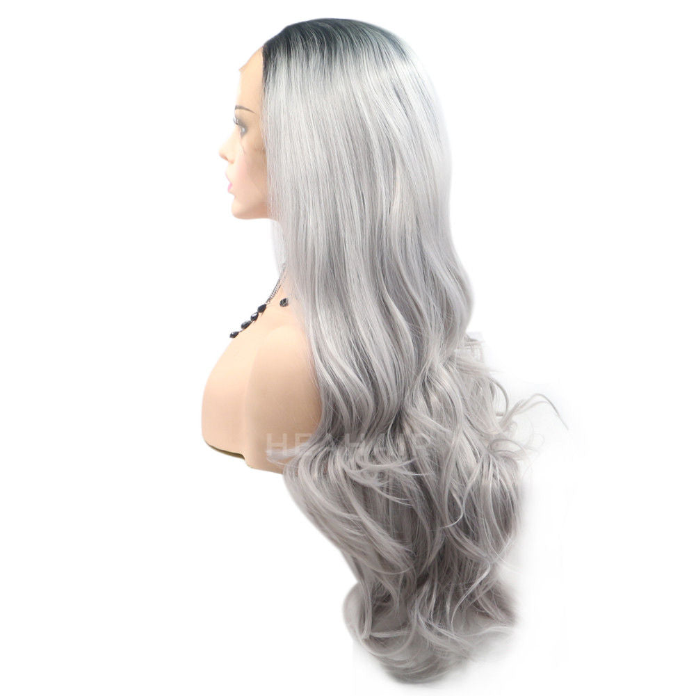Ombre Silver Synthetic Lace Front Wig HS6038