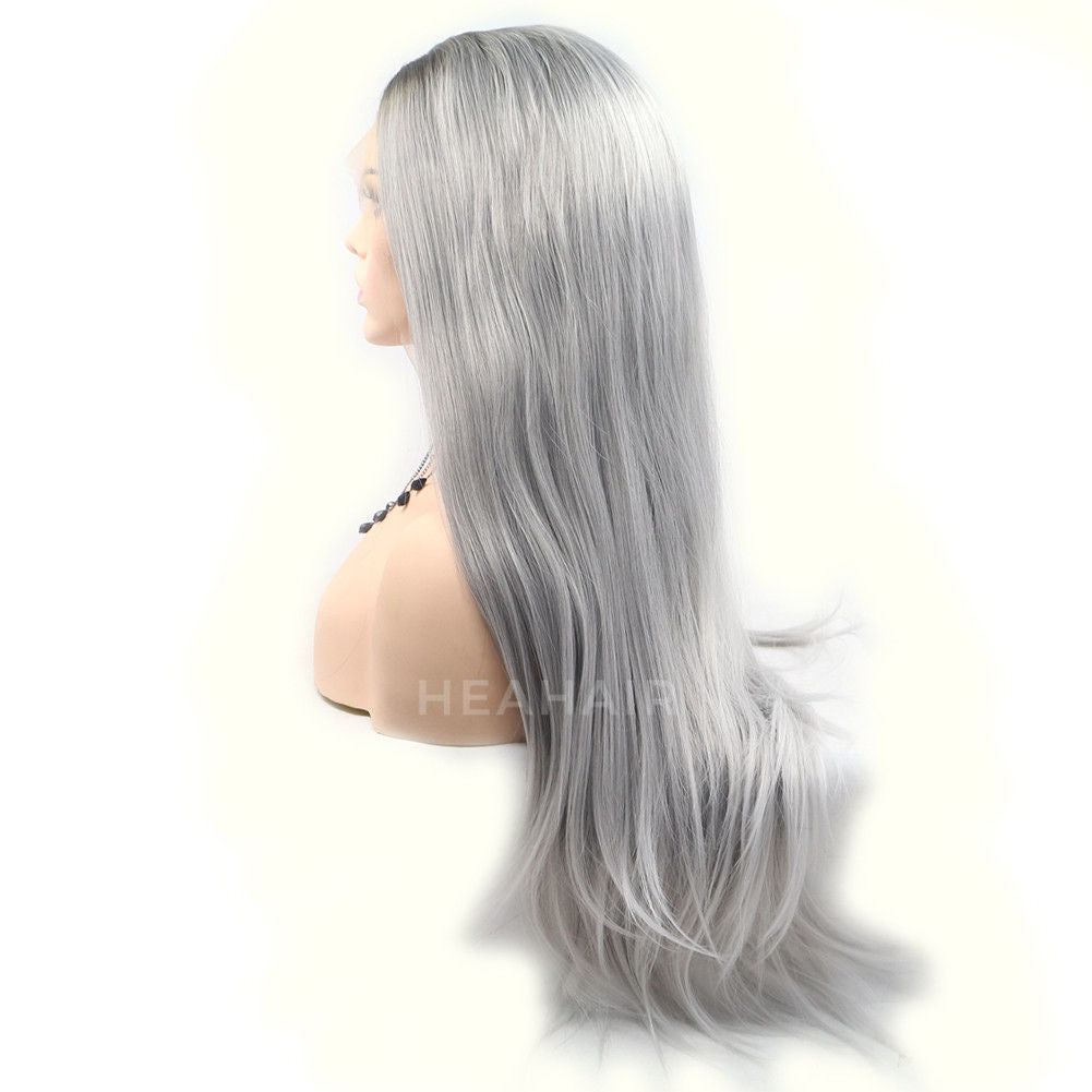 Ombre Gray Synthetic Lace Front Wig HS6039