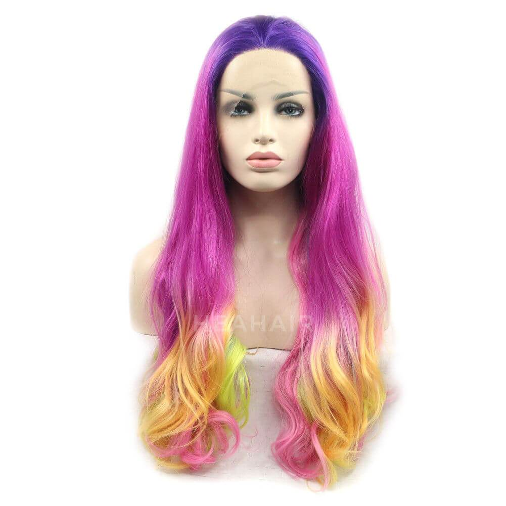 Rainbow Purple Synthetic Lace Front Wig HS6046
