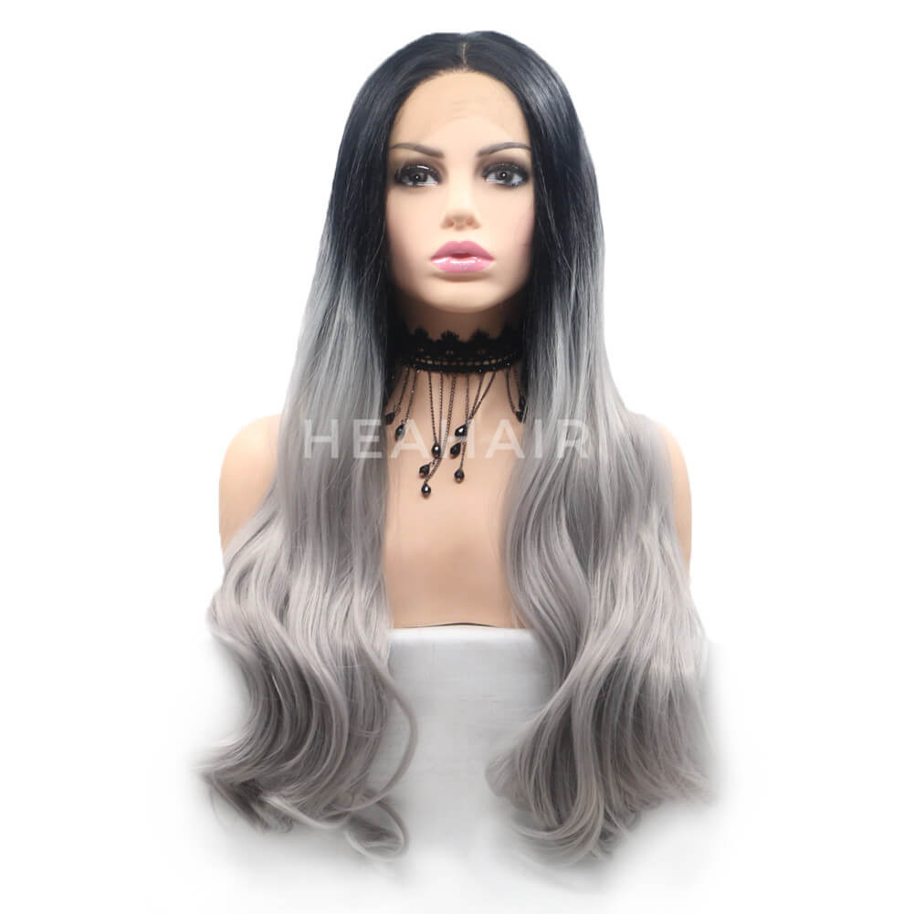 Ombre Gray Synthetic Lace Front Wig HS6056