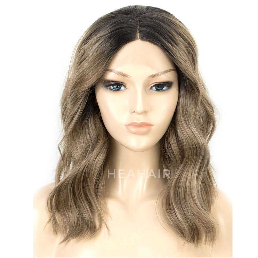 Ombre Ash Brown Synthetic Lace Front Wigs HS6064