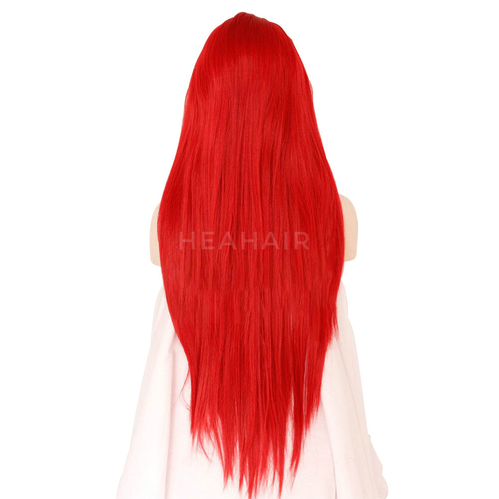 Hot Red Long Straight  Synthetic Lace Front Wig HS6067